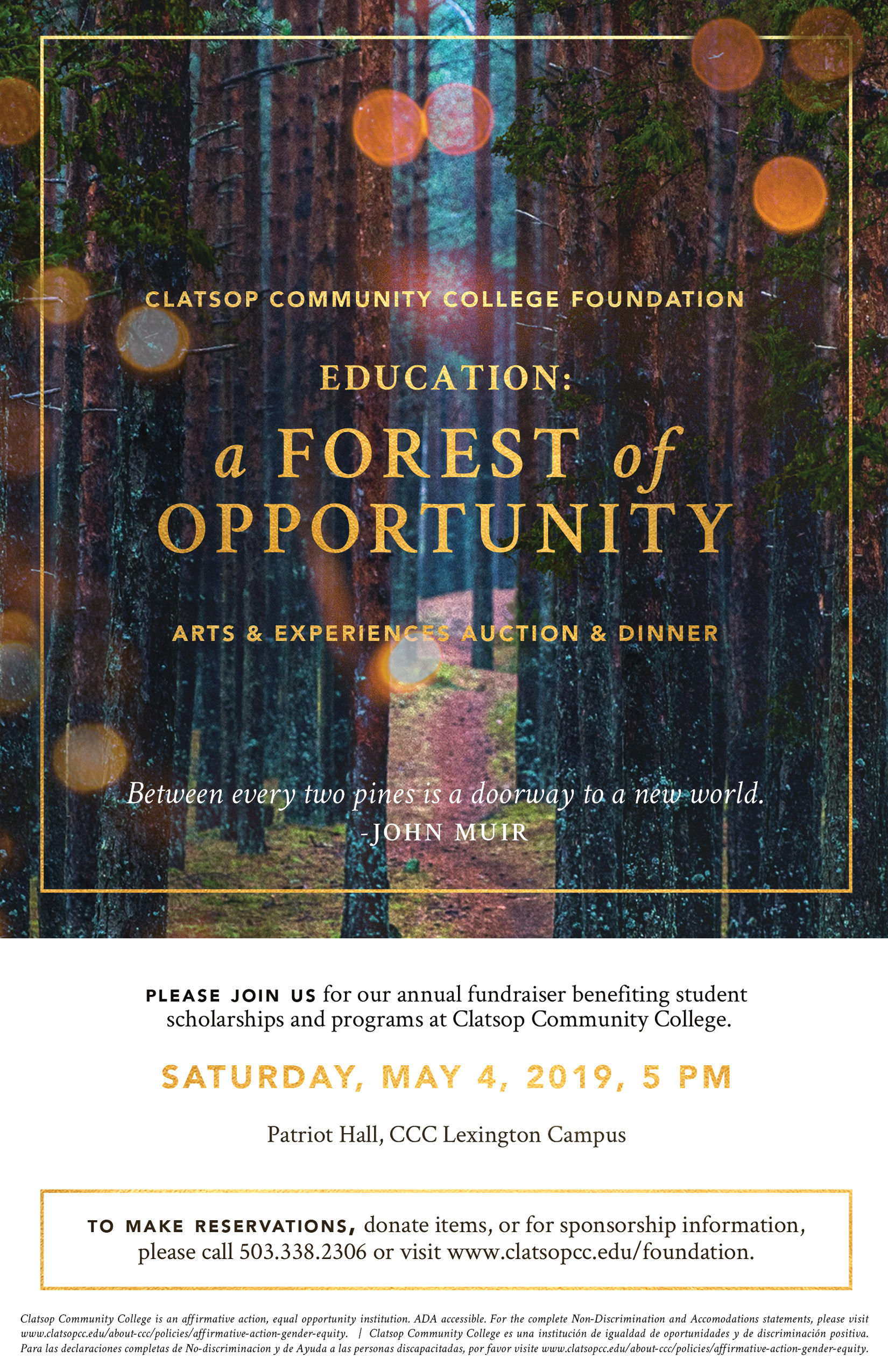 Clatsop Community College Foundation presents Education. A Forest of Opportunity. 2019 Arts and Experiences Auction and Dinner