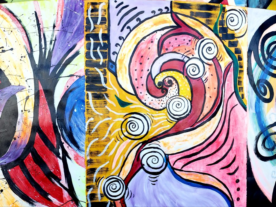 Colorful art on the wall in Columbia Hall