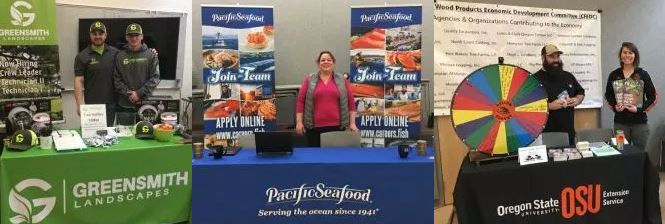 Presenters show off their booth at the job and career fair from 2018