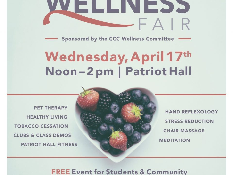 flyer for the Health and Wellness fair announcing date and time