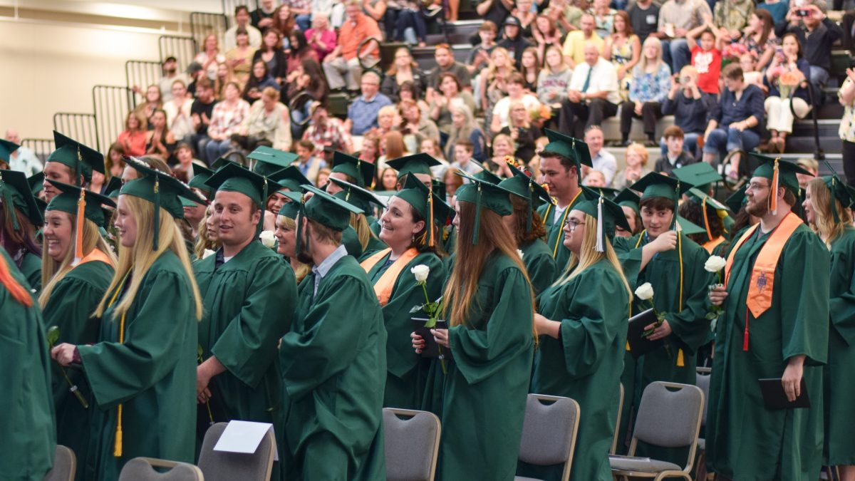 CCC Graduates stand at the 2018 commencement ceremonies in Patriot Hall