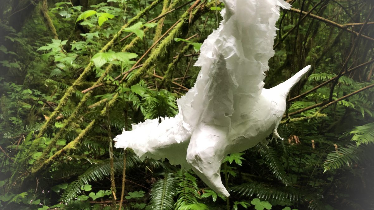 Photo caption: Crescent Flight by Janessa Sablan, wire and papier-mâché