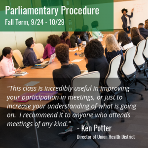 Parliamentary Procedure offered Fall Term