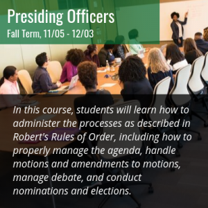 Parliamentary Procedure Presiding Officers Class