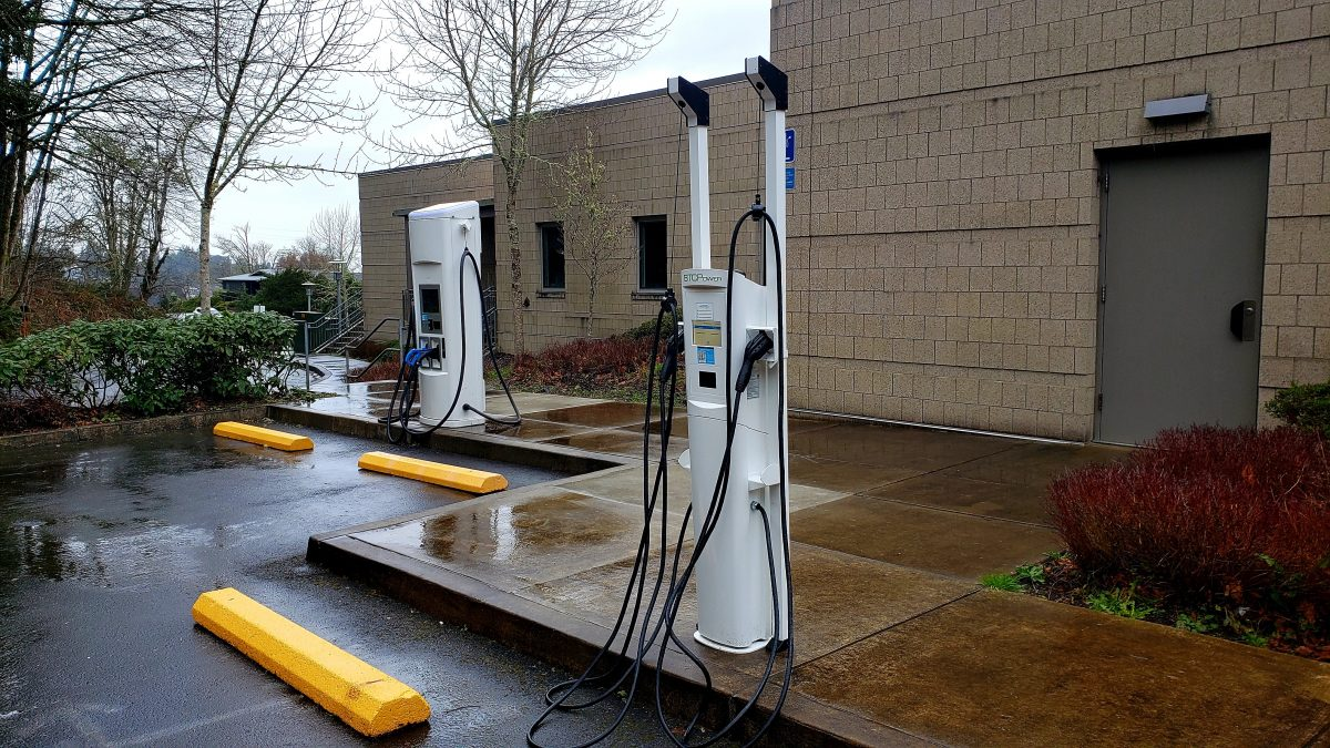 Electric vehicle charging stations are located at CCC in the upper parking lot by Columbia Hall