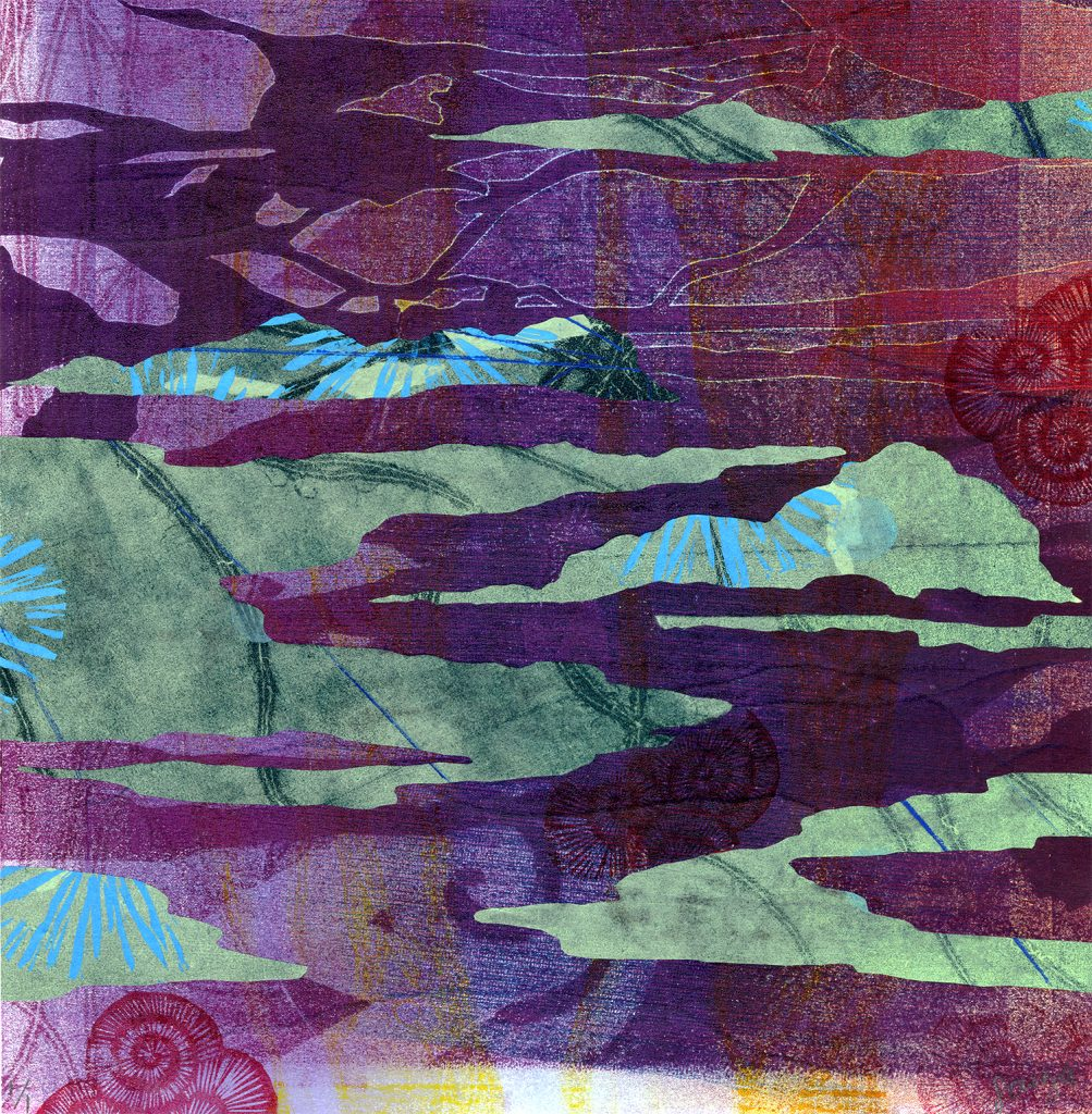 """Monotype and Chine colle titled """"Ao"""" by Miki'ala Souza"""