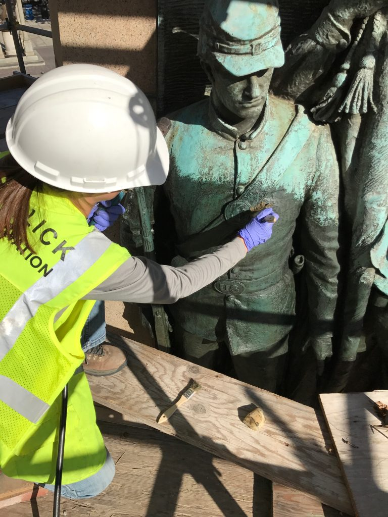 Laura Keating, CCC graduate, works on the Stephenson Memorial in Washington D. C.
